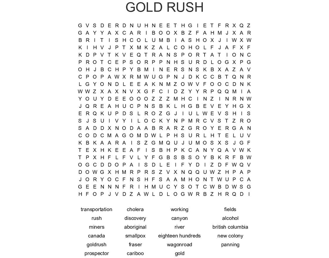 Gold Rush Word Search