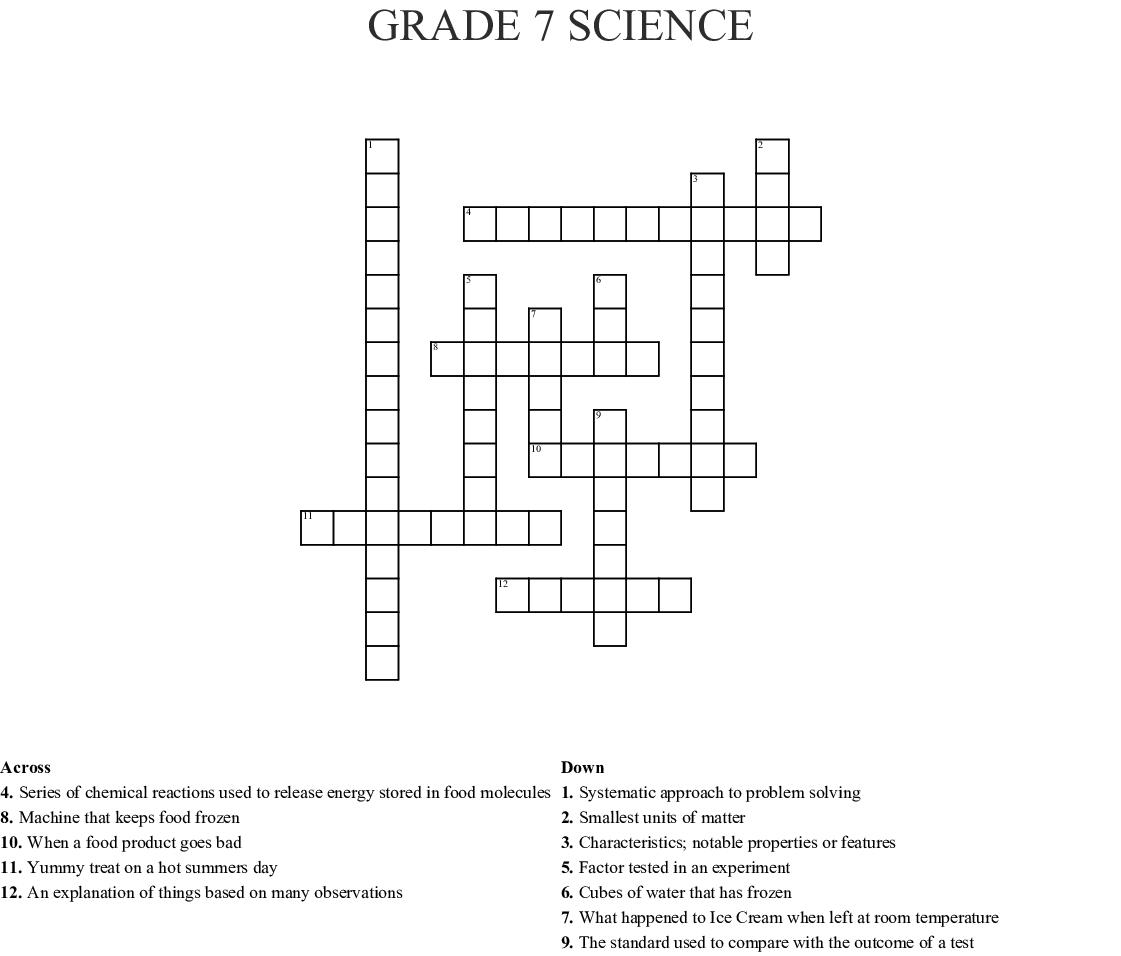 Grade 7 Science Crossword