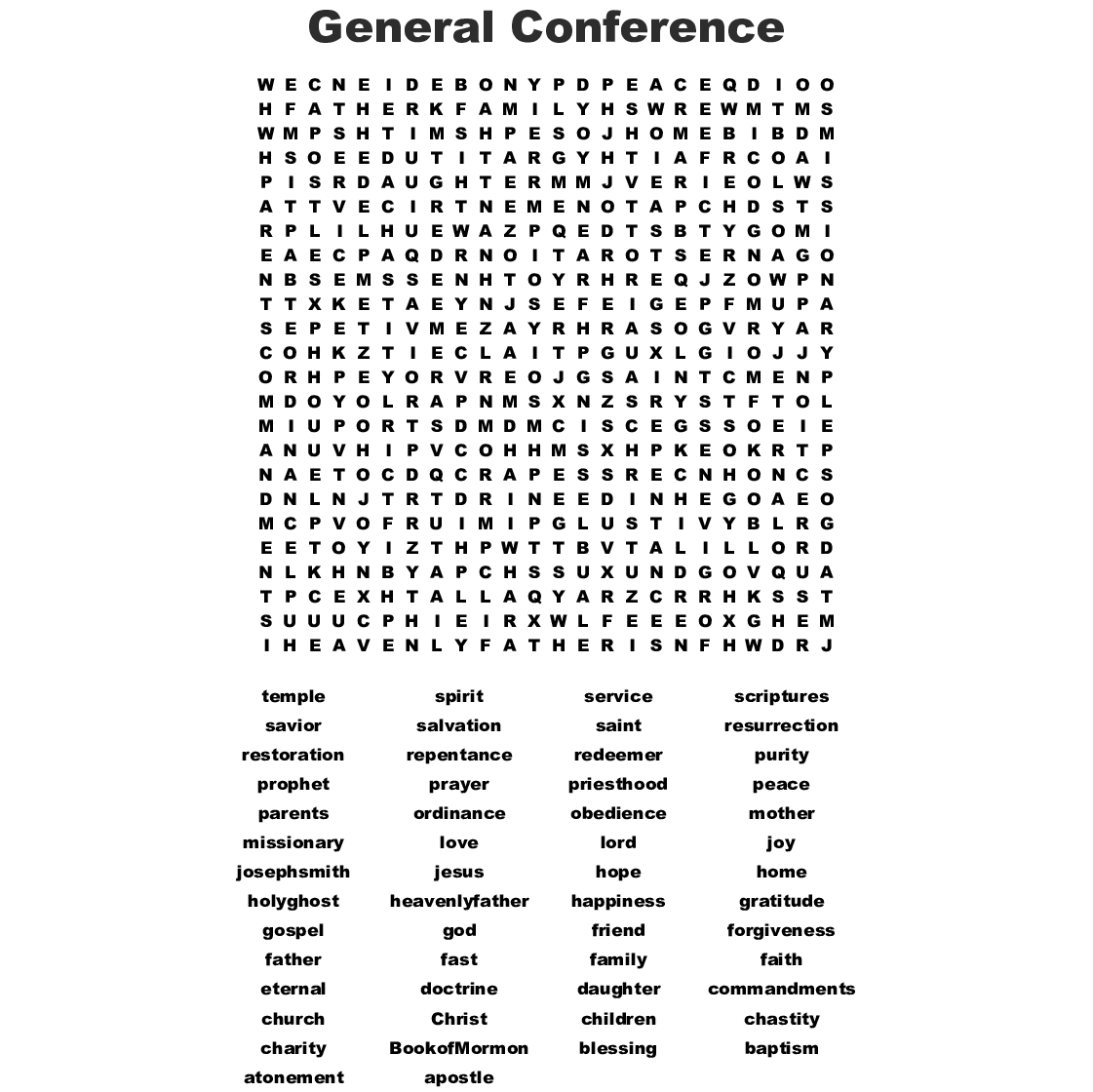 The Power Of Prayer Word Search