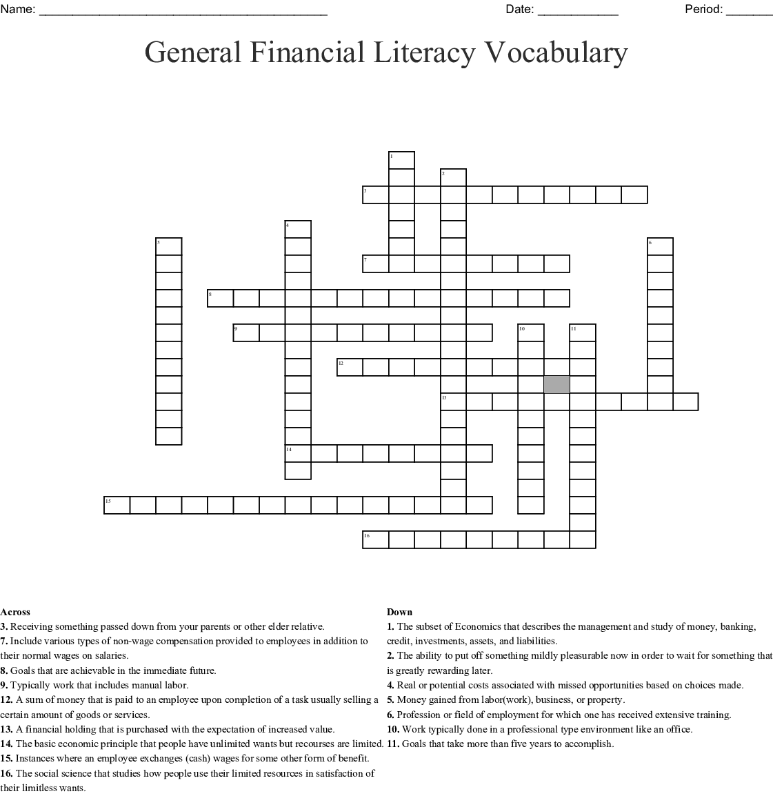 General Financial Literacy Vocabulary Crossword
