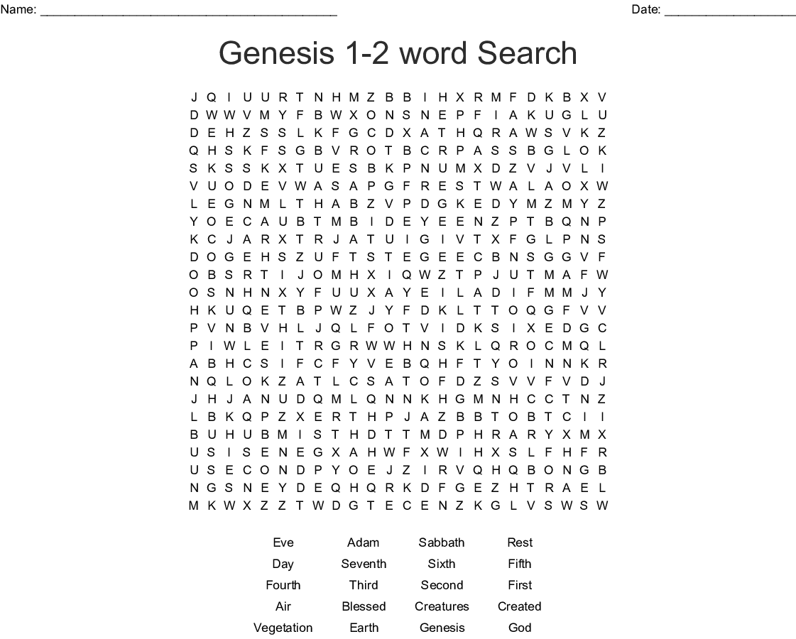 Genesis 1 27 Word Search