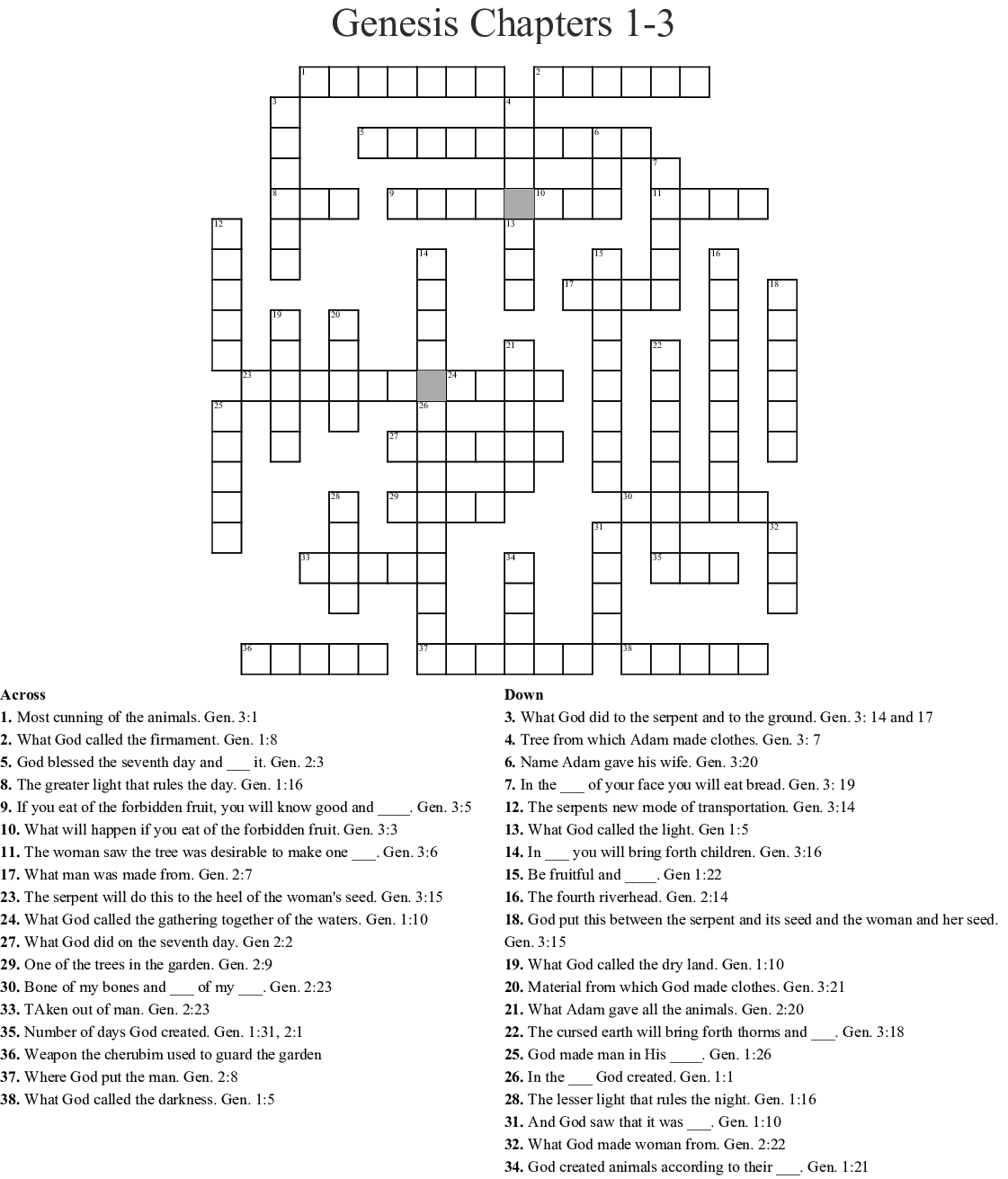 Creation Crossword Genesis 1 And 2