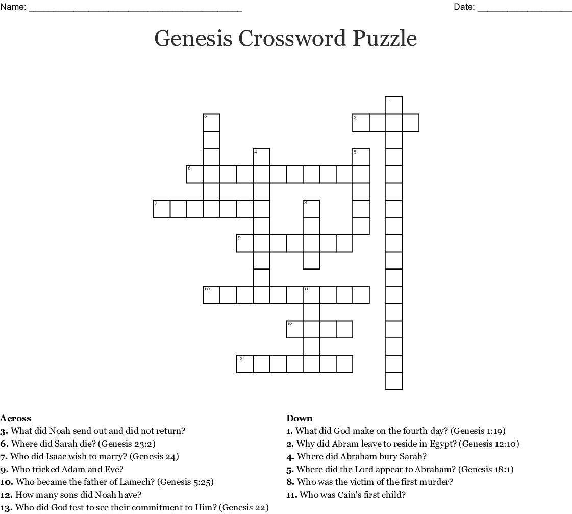 Genesis Crossword Puzzle