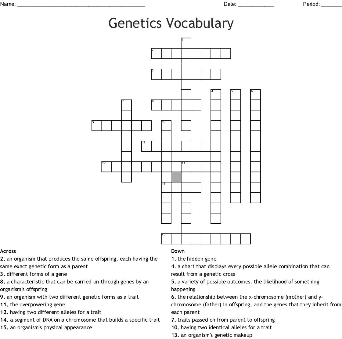 Heredity And Genetics Vocabulary Crossword