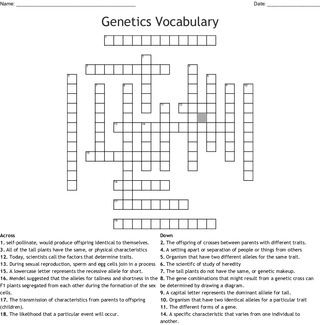 Genetics Vocabulary Worksheet Crossword Answer Key