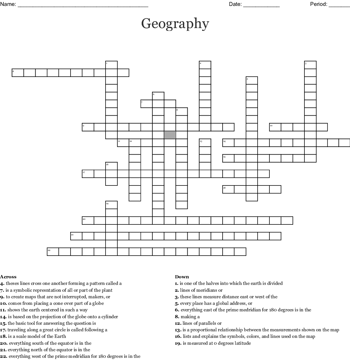 Longitude Amp Latitude Worksheet Crossword