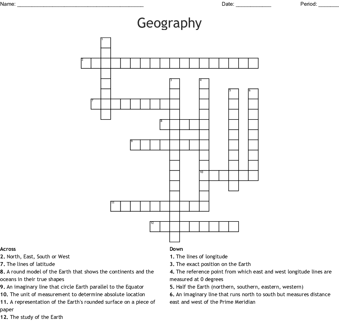 Answer Key Geography Crossword Puzzle Answers