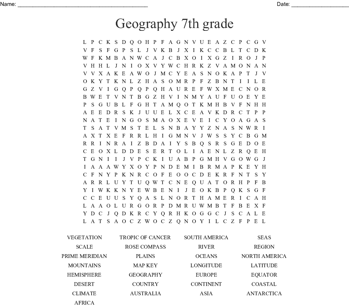 Geography 7th Grade Word Search