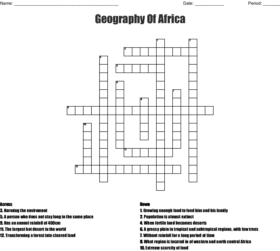 Geography Of Africa Crossword