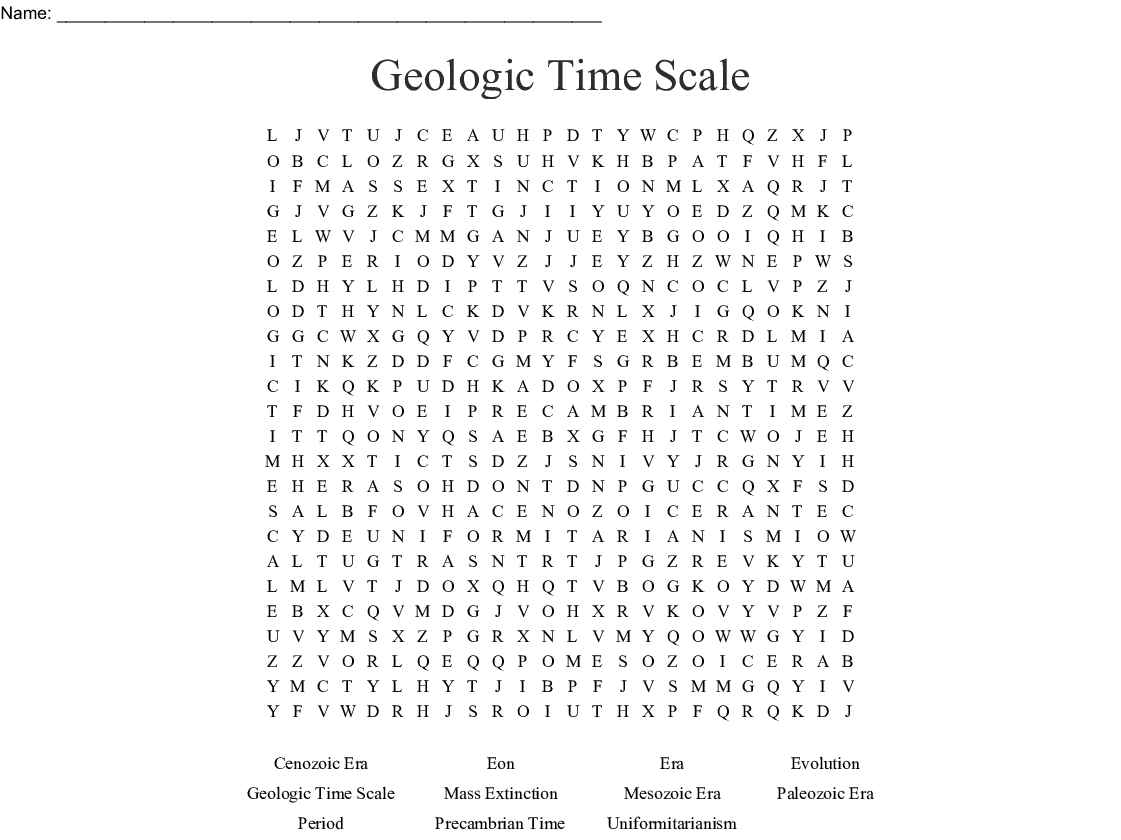 Earth History Crossword