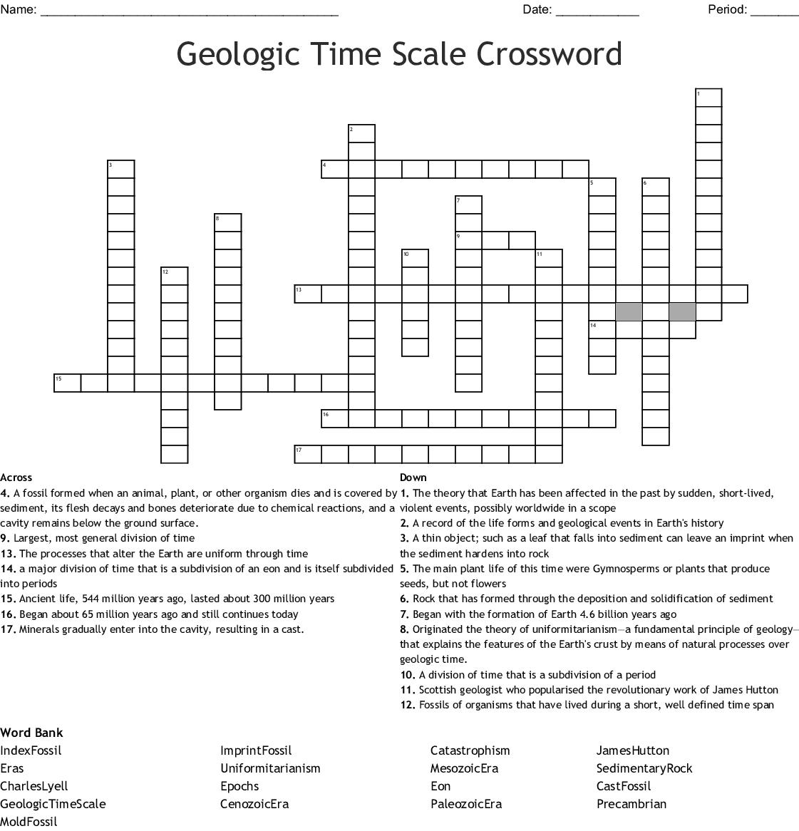 Geologic Time Scale Crossword
