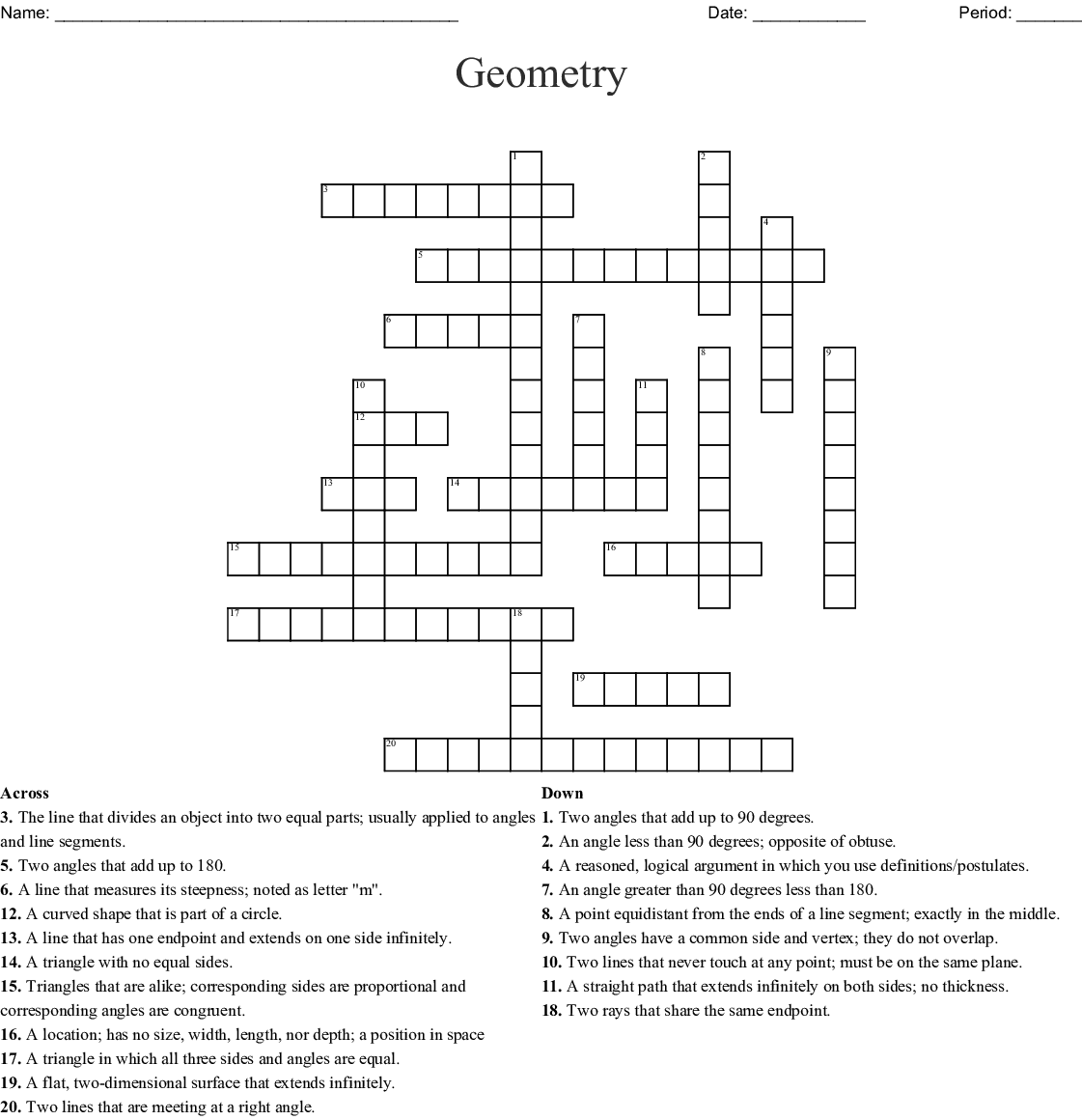 Geometry Crossword