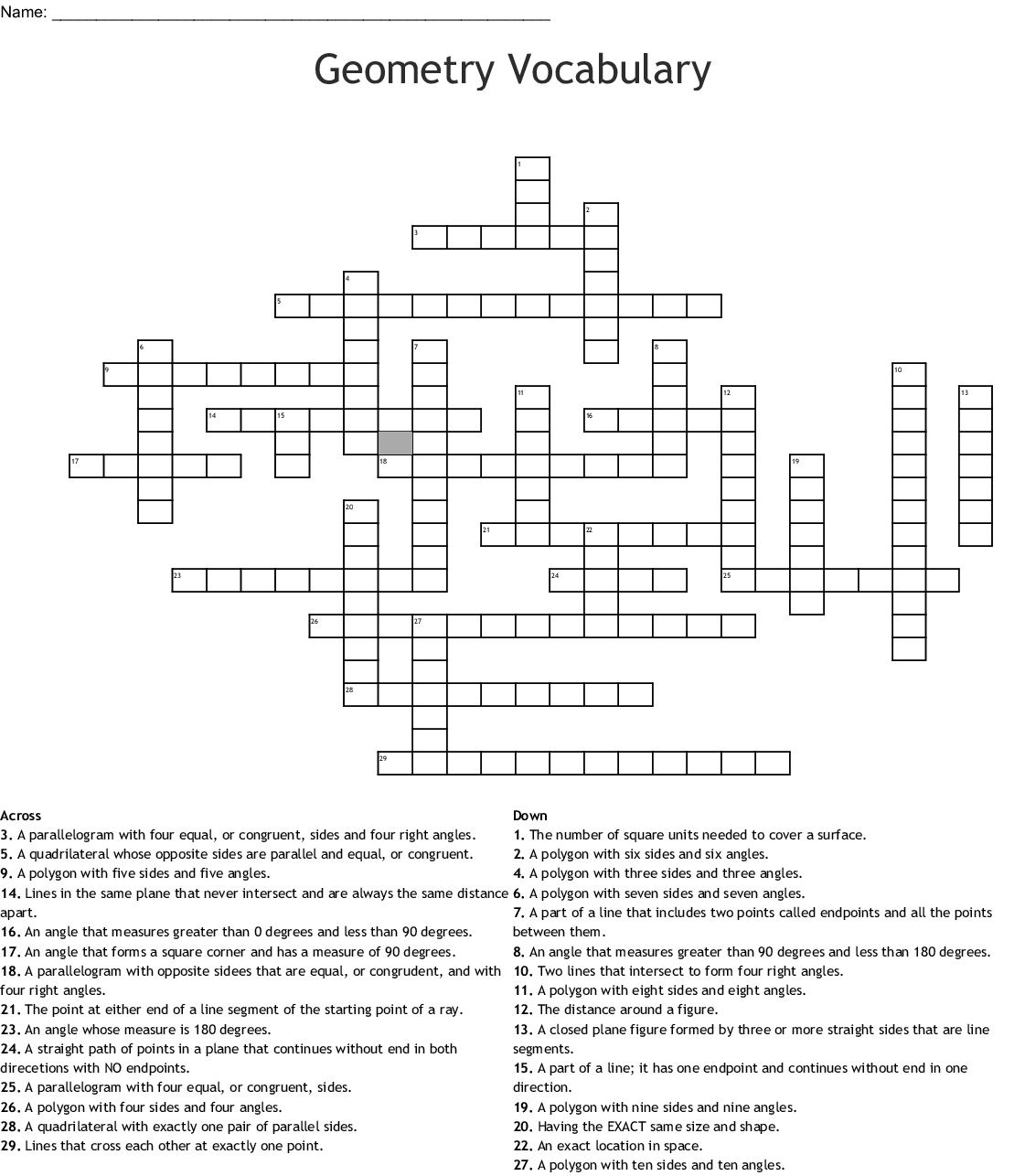 Geometry Vocabulary Crossword