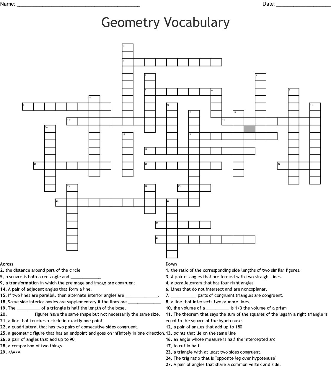 Geometry Word Search