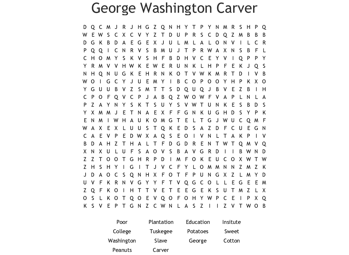 George Washington Carver Word Search