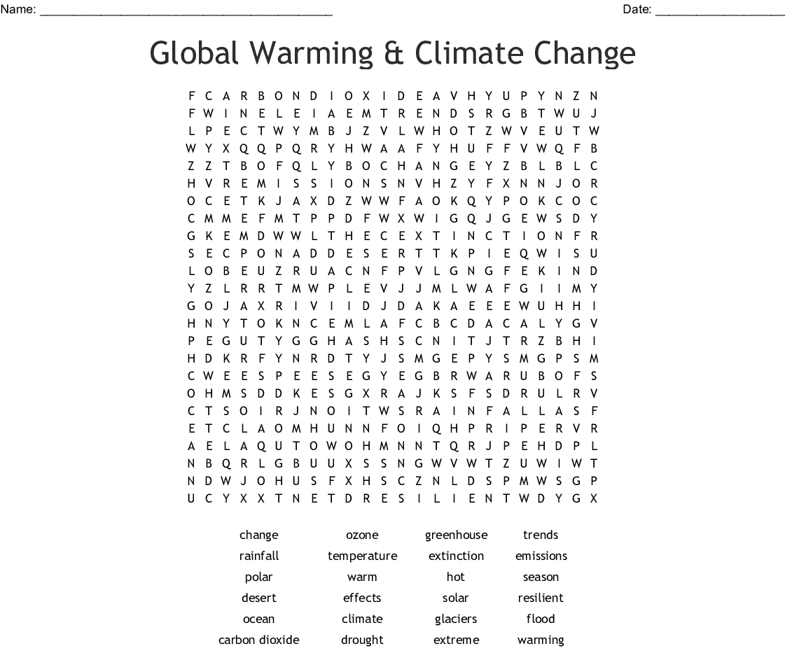 Global Warming And Climate Change Word Search