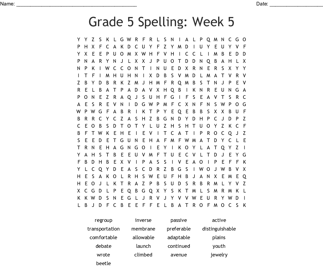 Grade 5 Spelling Week 5 Word Search