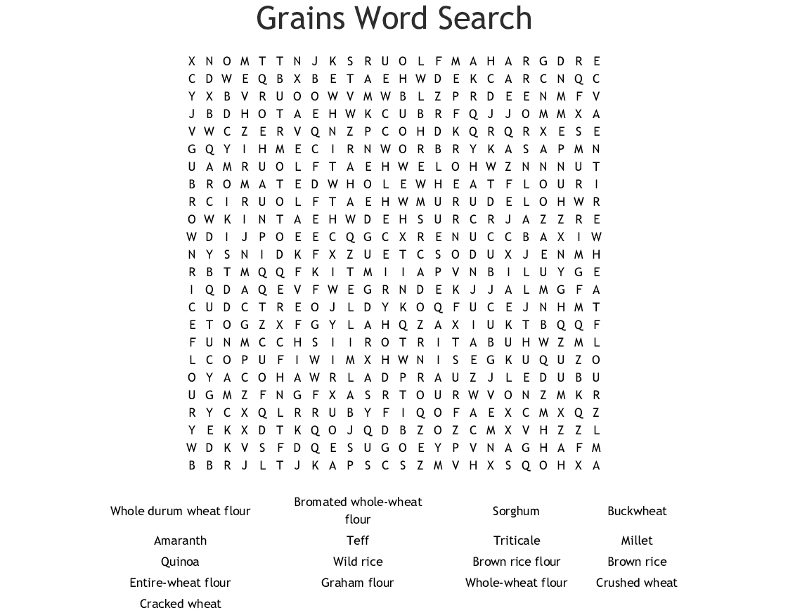 Grains Word Search