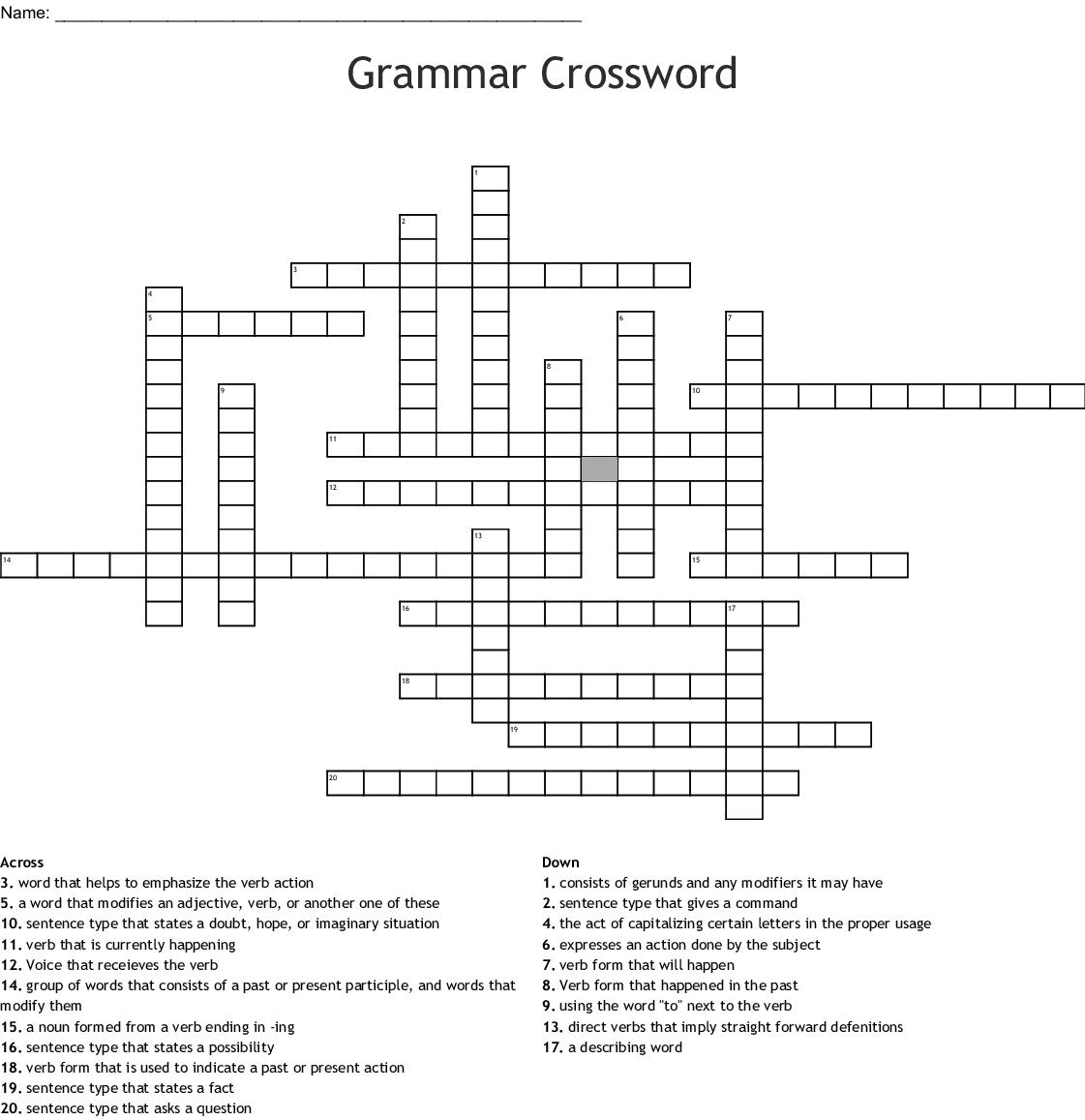 Grammar Crossword Puzzle