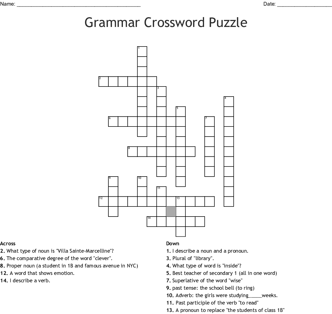 Grammar Crossword Puzzle Worksheet