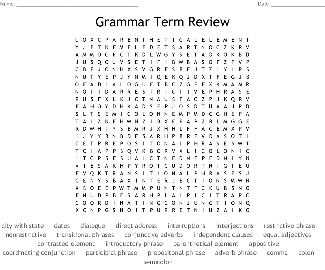 Grammar Term Review Word Search