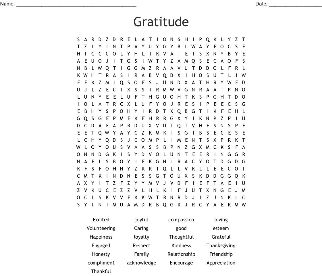 Gratitude Word Search