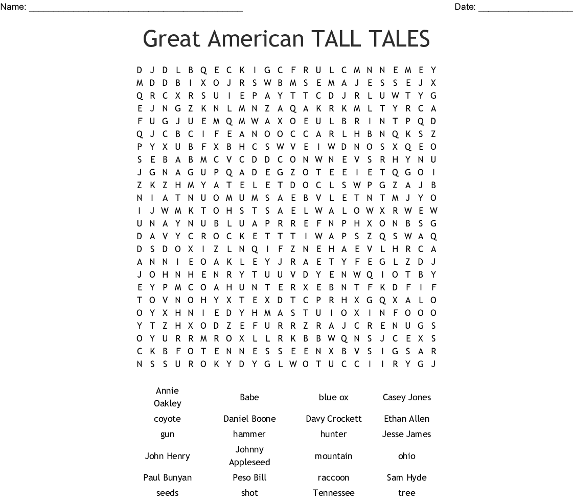 Great American Tall Tales Word Search
