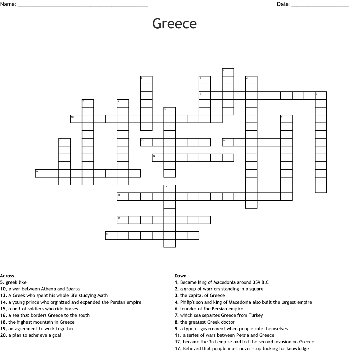 Greece Crossward Puzzle Crossword