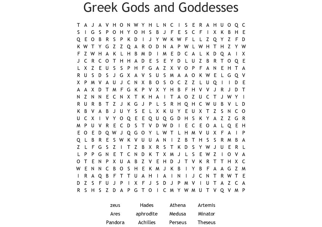 Greek Mythology Puzzles