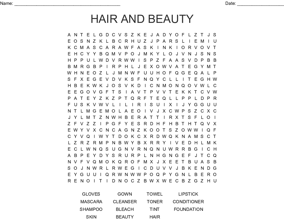 Hair And Beauty Word Search