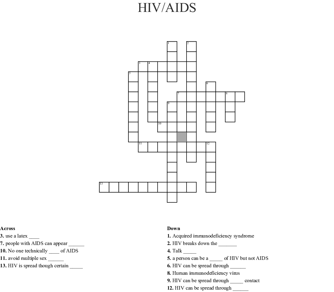 Hiv Aids Word Search