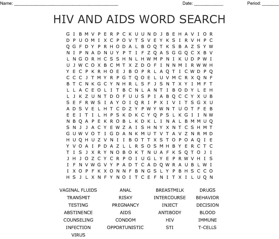 Yeast Infection Word Search
