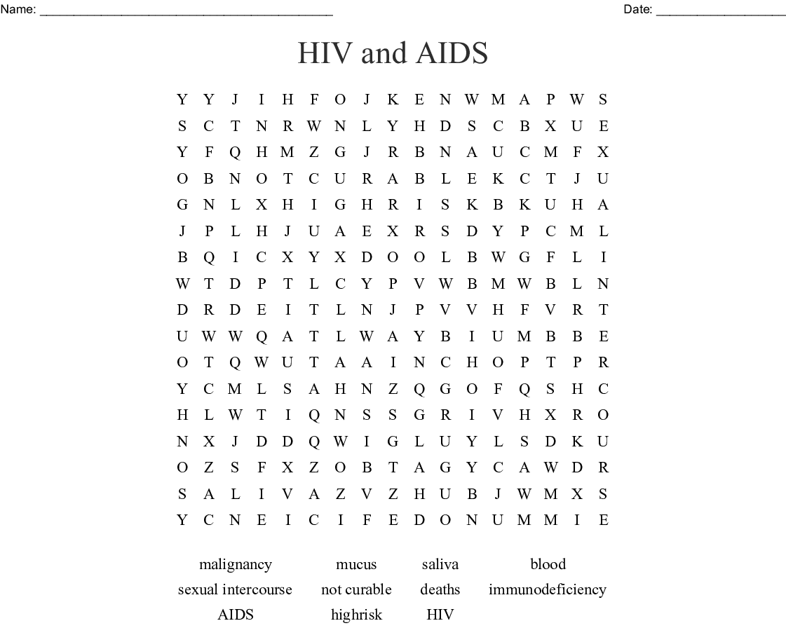 Hiv And Aids Word Search