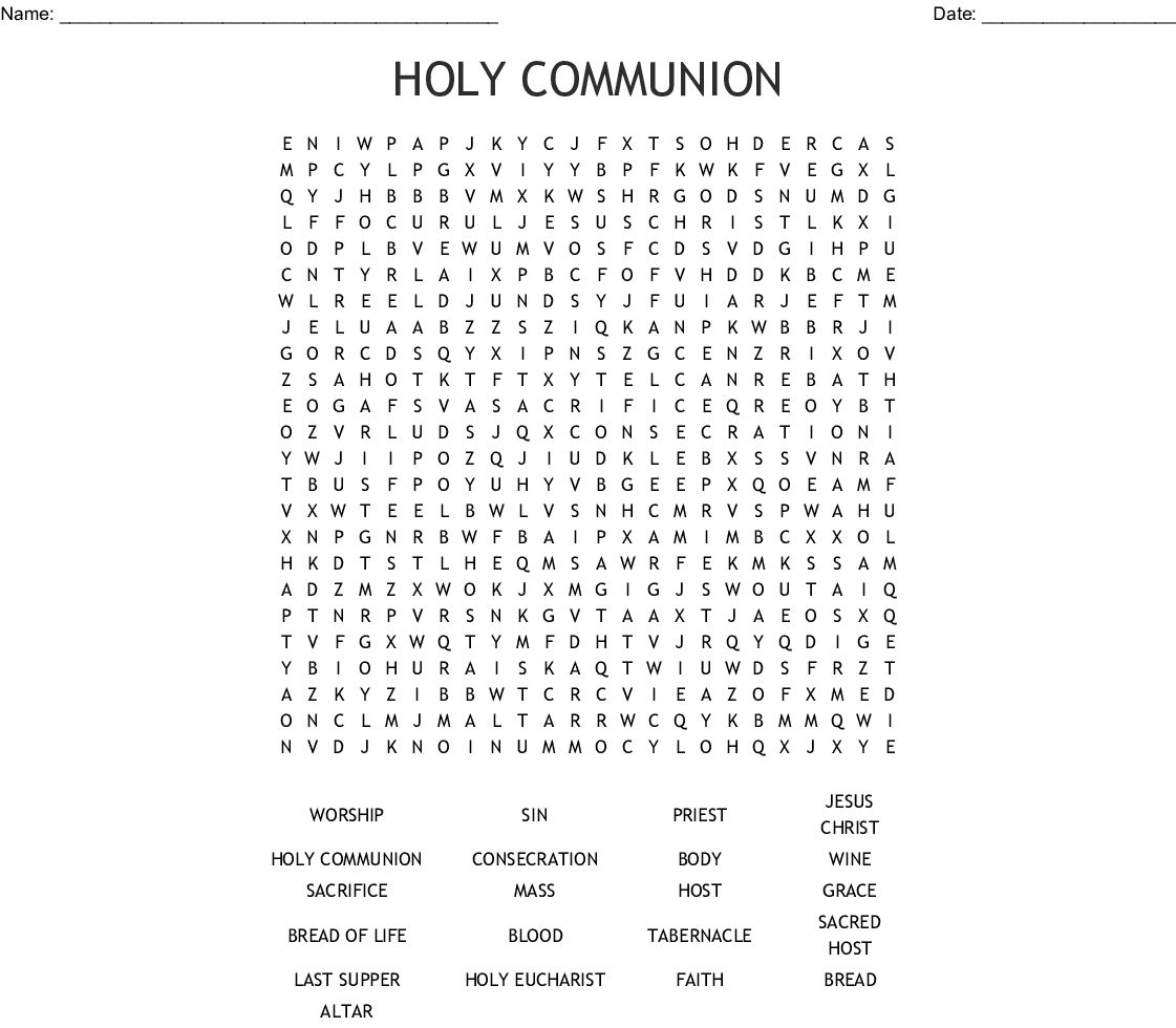 The Lords Supper Word Search
