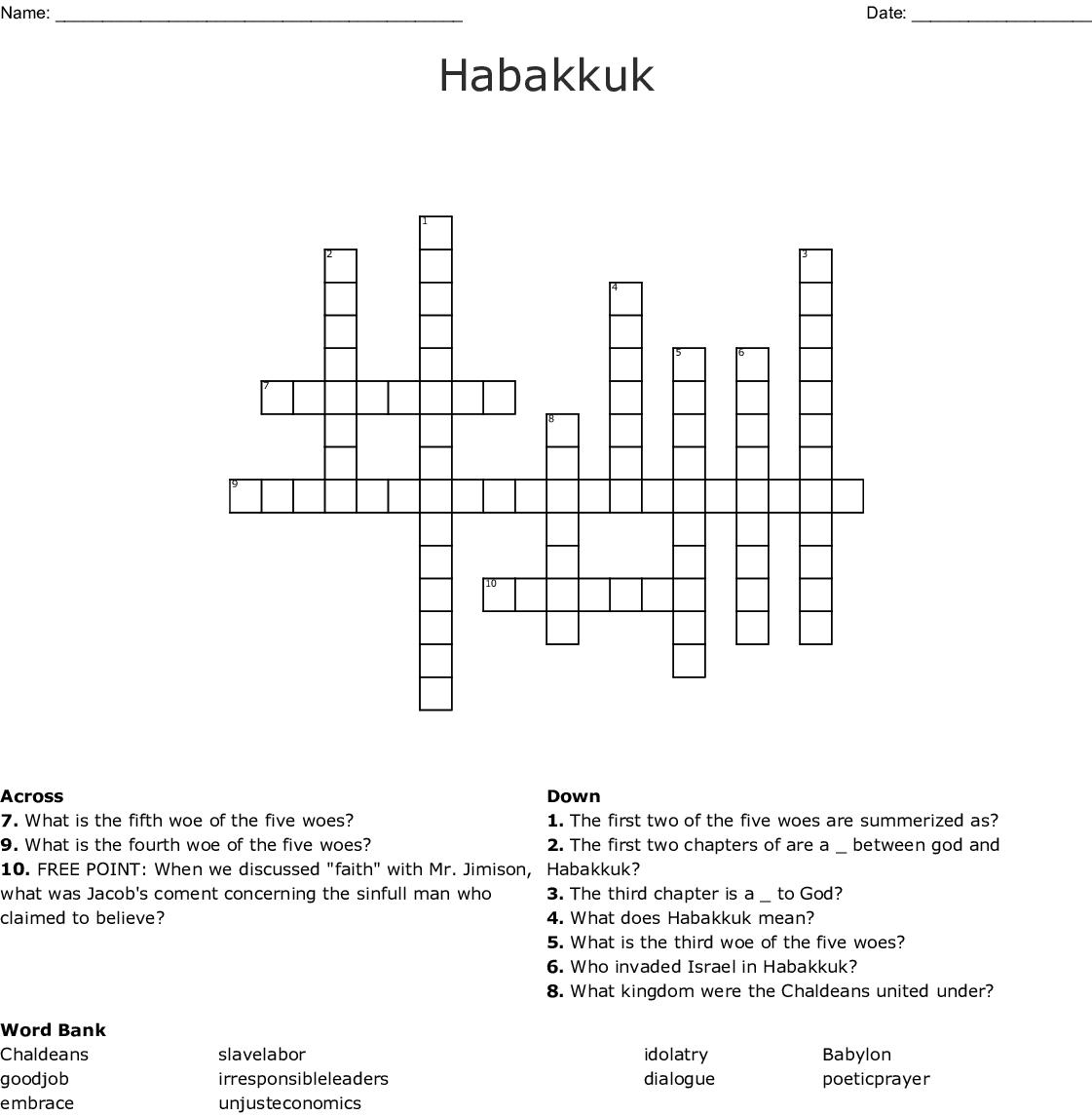 Habakkuk Crossword