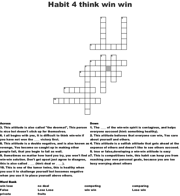 Habit 4 Think Win Win Crossword