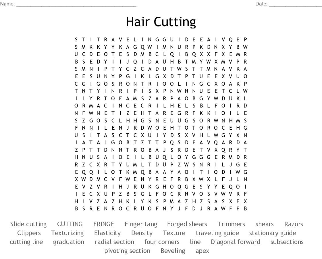 Hair Cutting Word Search