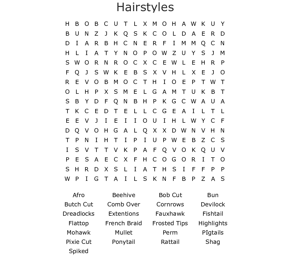 Hair Care Crosswords Word Searches Bingo Cards