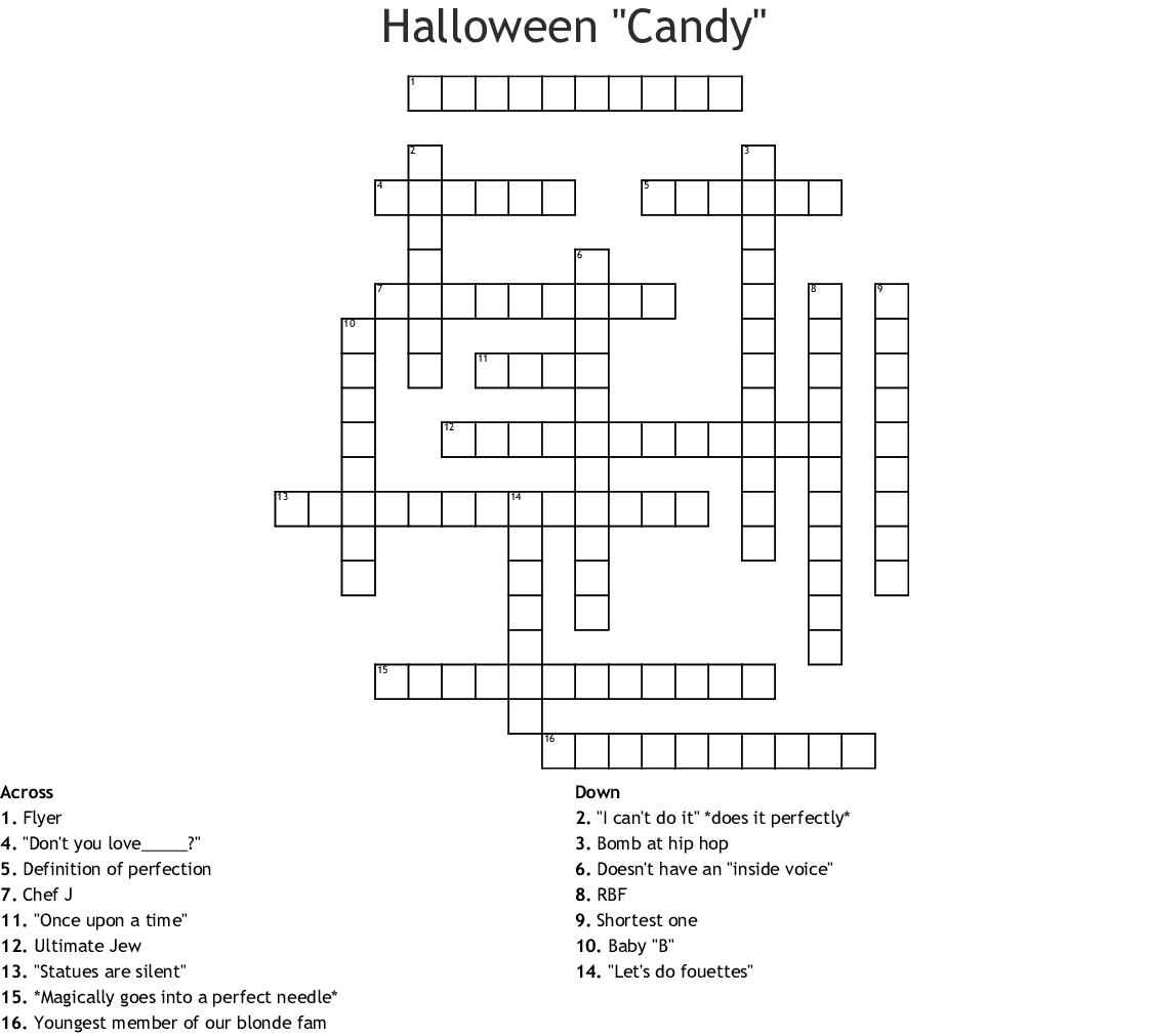 Halloween Candy Crossword
