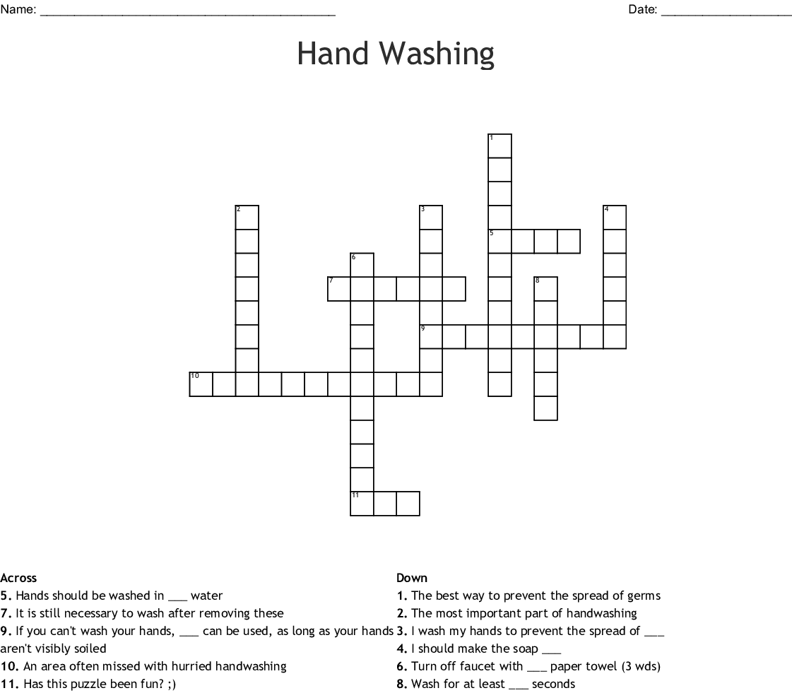 Hand Washing Word Search