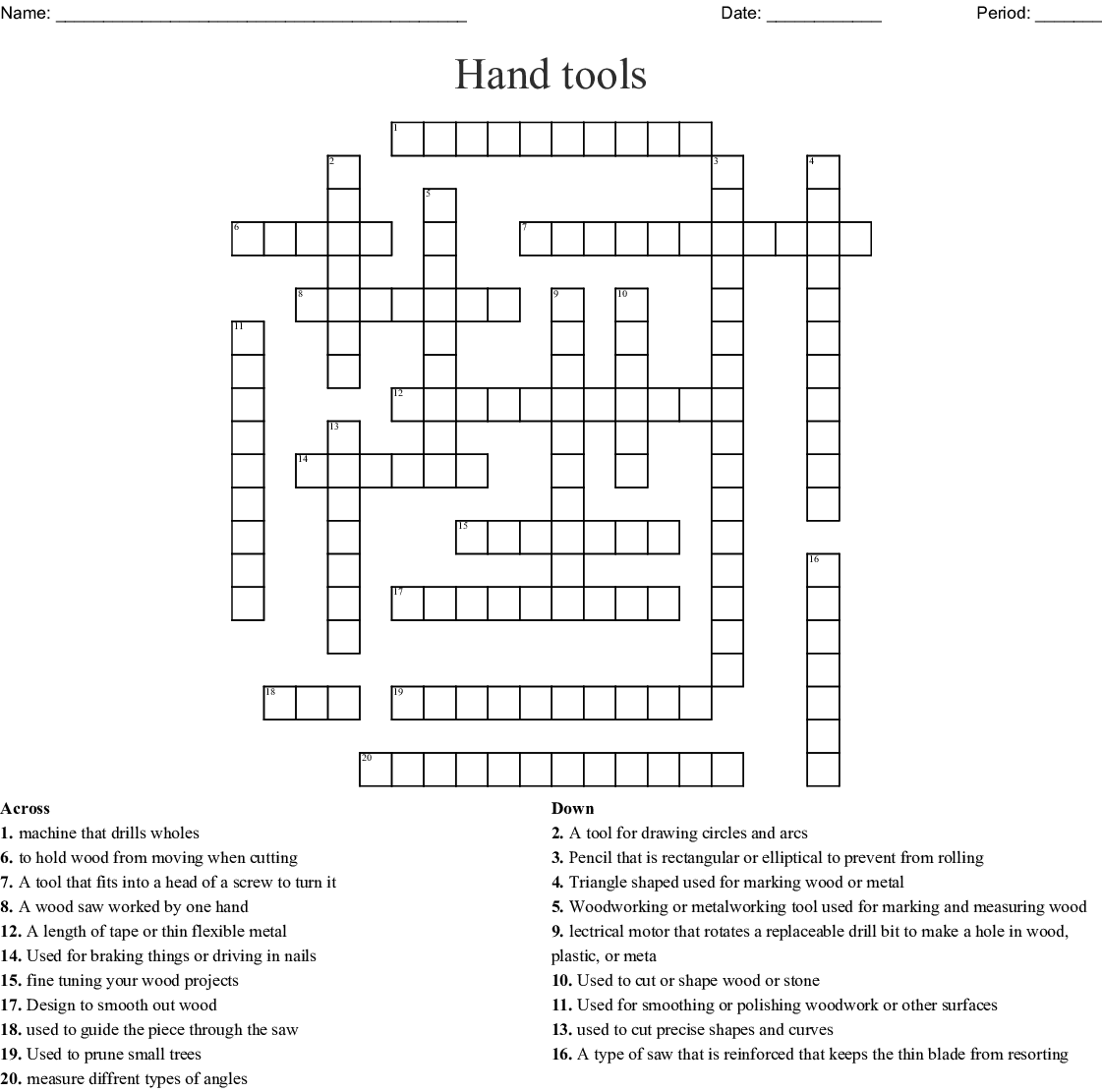 Hand Tools Crossword