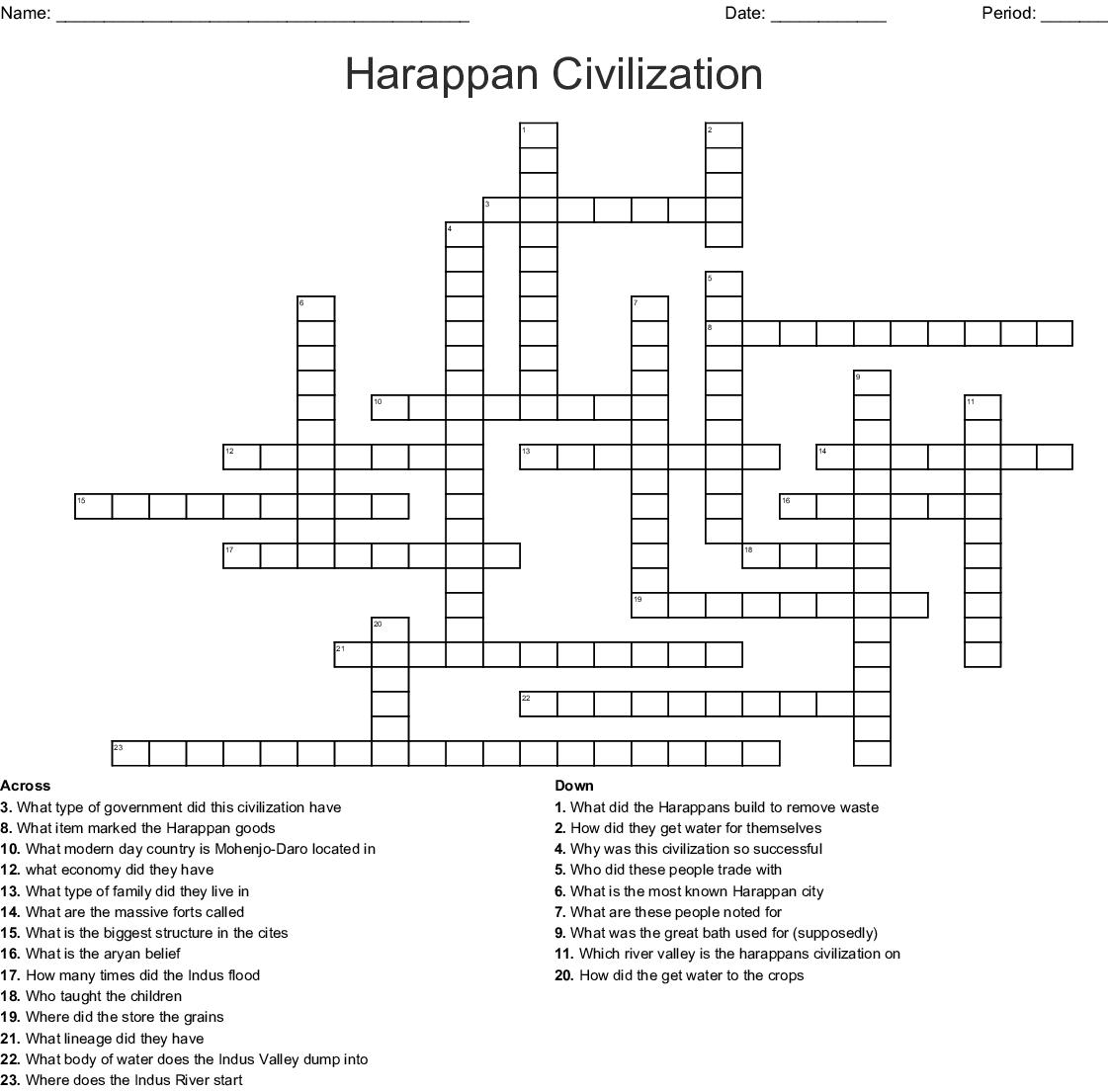 Indus River Valley Crossword