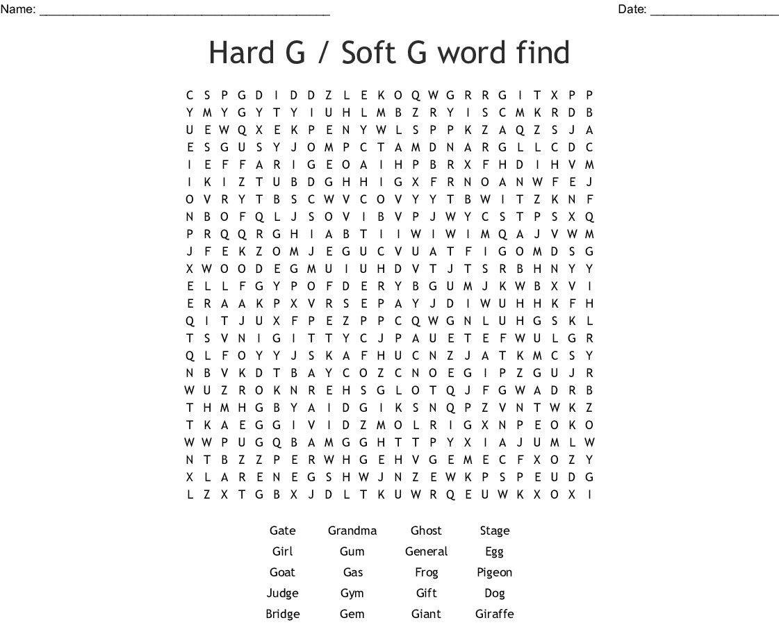 Hard G Soft G Word Find Word Search