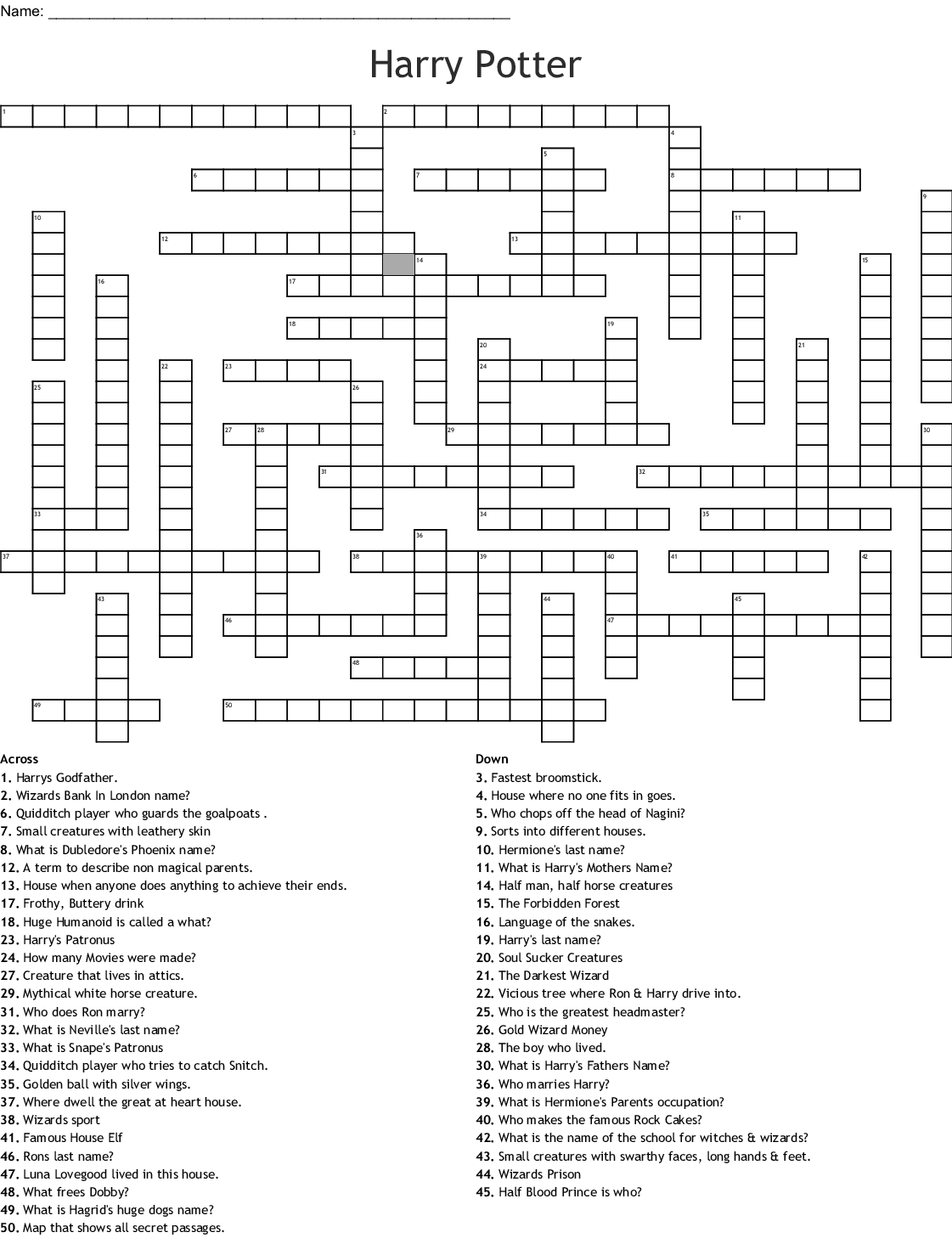 Harry Potter Crossword Puzzle Printable That Are Magic