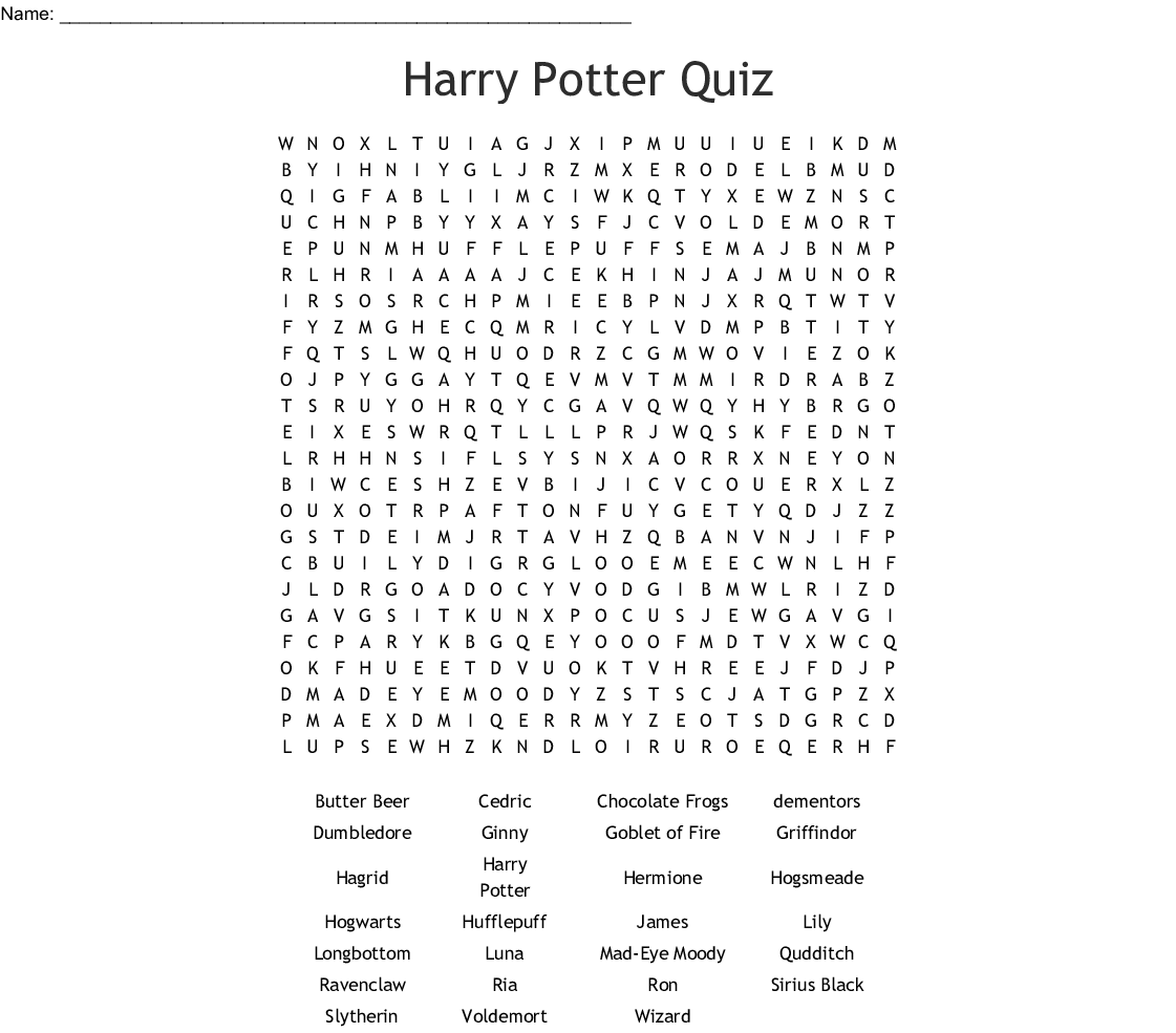 Mega Harry Potter Word Find Word Search