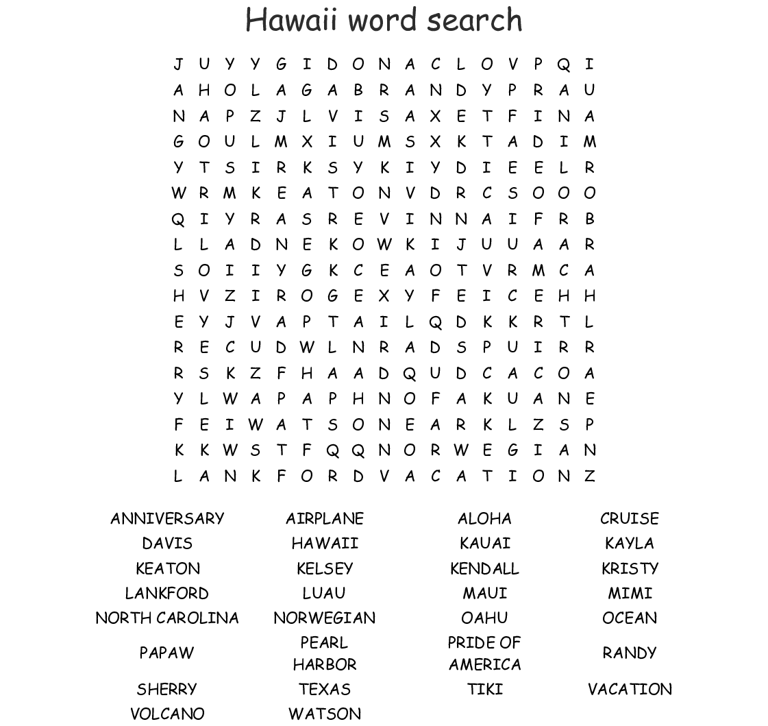 Hawaiian Islands Word Search