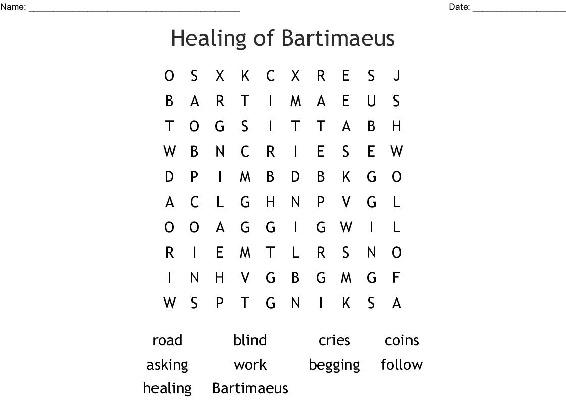 Jesus Heals Blind Bartimaeus Word Search
