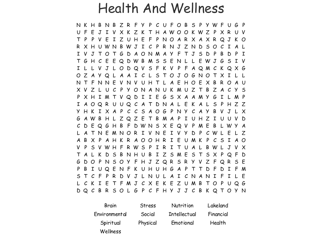 Health And Wellness Word Search