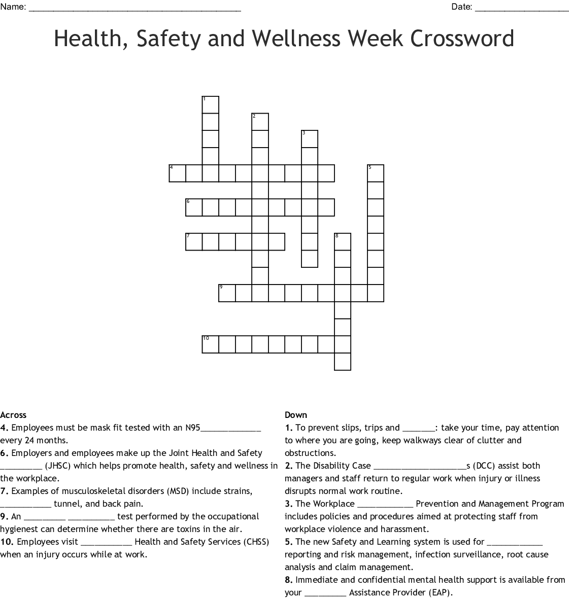 Health Safety And Wellness Week Crossword