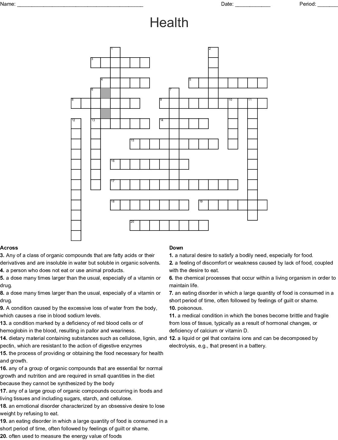 Health Crossword